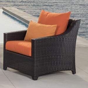 Powder-coated aluminum is lightweight and rust-free. Hand-woven resin wicker is engineered for rugged outdoor use.