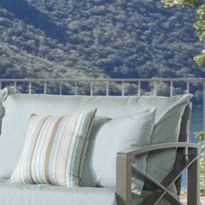 CUSHIONS Plush cushions are layered to allow moisture to completely drain, and is wrapped in Sunbrella® fabric to last for years
