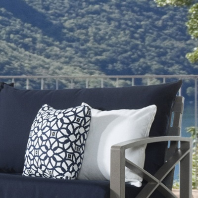 CUSHIONS Plush cushions are layered to allow moisture to completely drain, and is wrapped in Sunbrella® fabric to last for years.