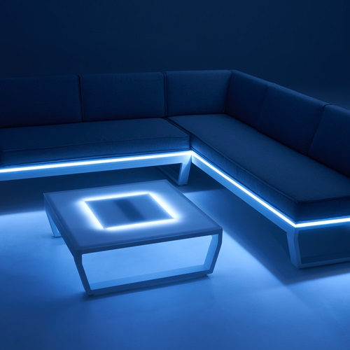 Solar-powered LED lights are built into the frame to create a soft glow.