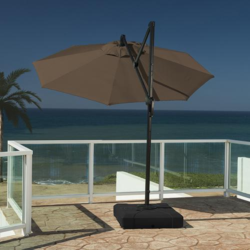 10 foot round umbrella canopy includes center air vent to relieve wind gusts