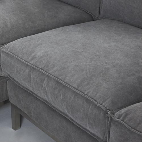 Overstuffed box cut cushions with light contrast double edge outer stitching adds a luxurious, carefully distressed look.