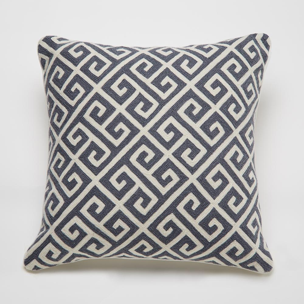 Montreal 20in Indian Wool Accent Pillow with Greek Key Motif - Blue Grey