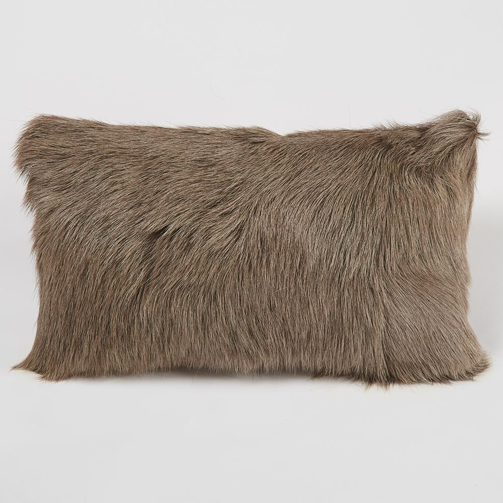 Manhattan 20in Goat Fur Lumbar Accent Pillow - Taupe