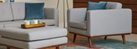 James Mid-Century Modern Club Chair - Light Gray