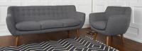 Rhodes Mid-Century Modern Tufted Arm Chair - Steel Gray