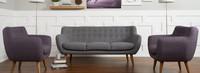 Rhodes Mid-Century Modern Tufted Arm Chair - Venga Purple
