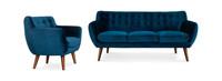 Rhodes Mid-Century Modern 2 Piece Living Set - Blue Velour