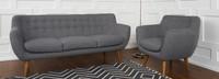 Rhodes Mid-Century Modern 2 Piece Living Set - Steel Grey