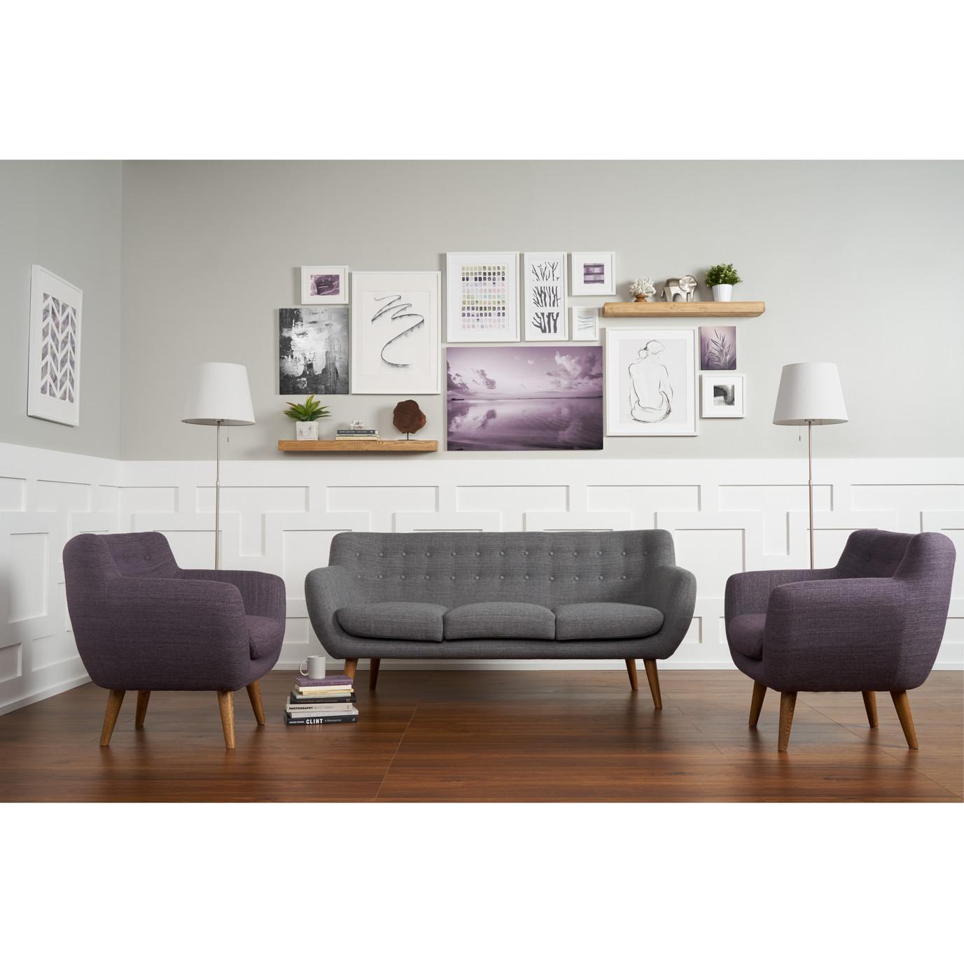 Rhodes Mid-Century Modern 3 Piece Living Set - Grey/Purple
