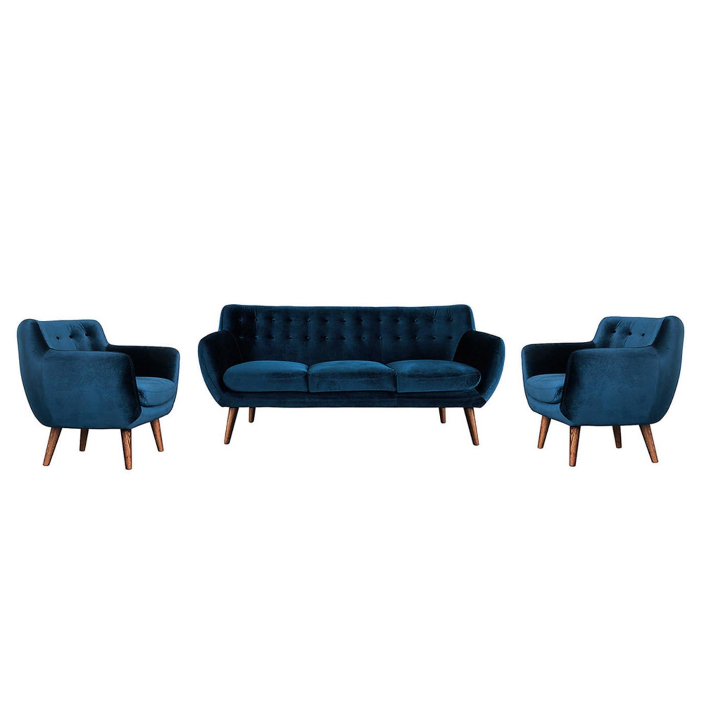 Rhodes Mid-Century Modern 3 Piece Living Set