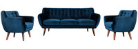 Rhodes Mid-Century Modern 3 Piece Living Set - Blue Velour