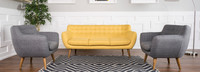 Rhodes Mid-Century Modern 3 Piece Living Set - Grey/Yellow