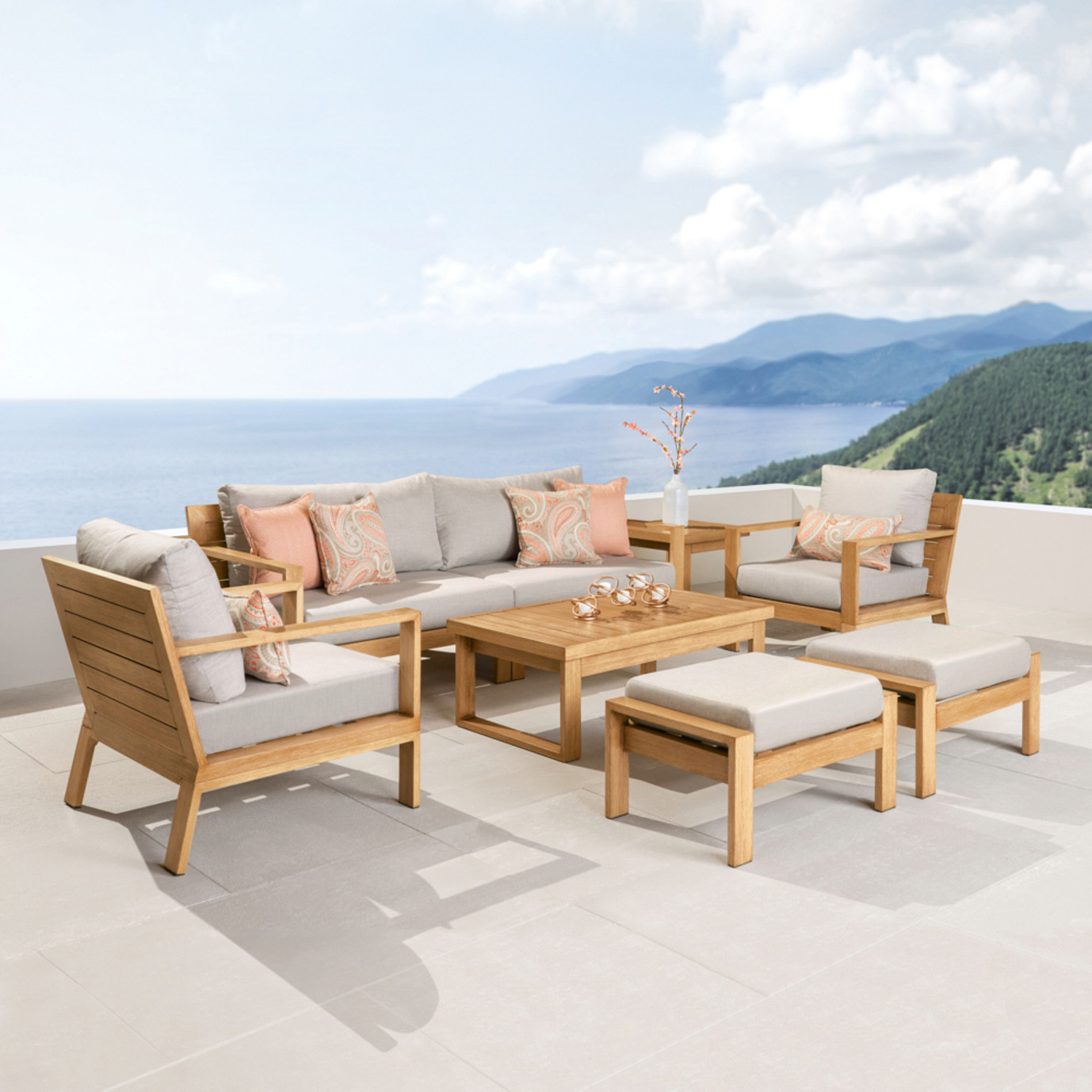 Capri™ 8 Piece Seating Set - Cast Silver