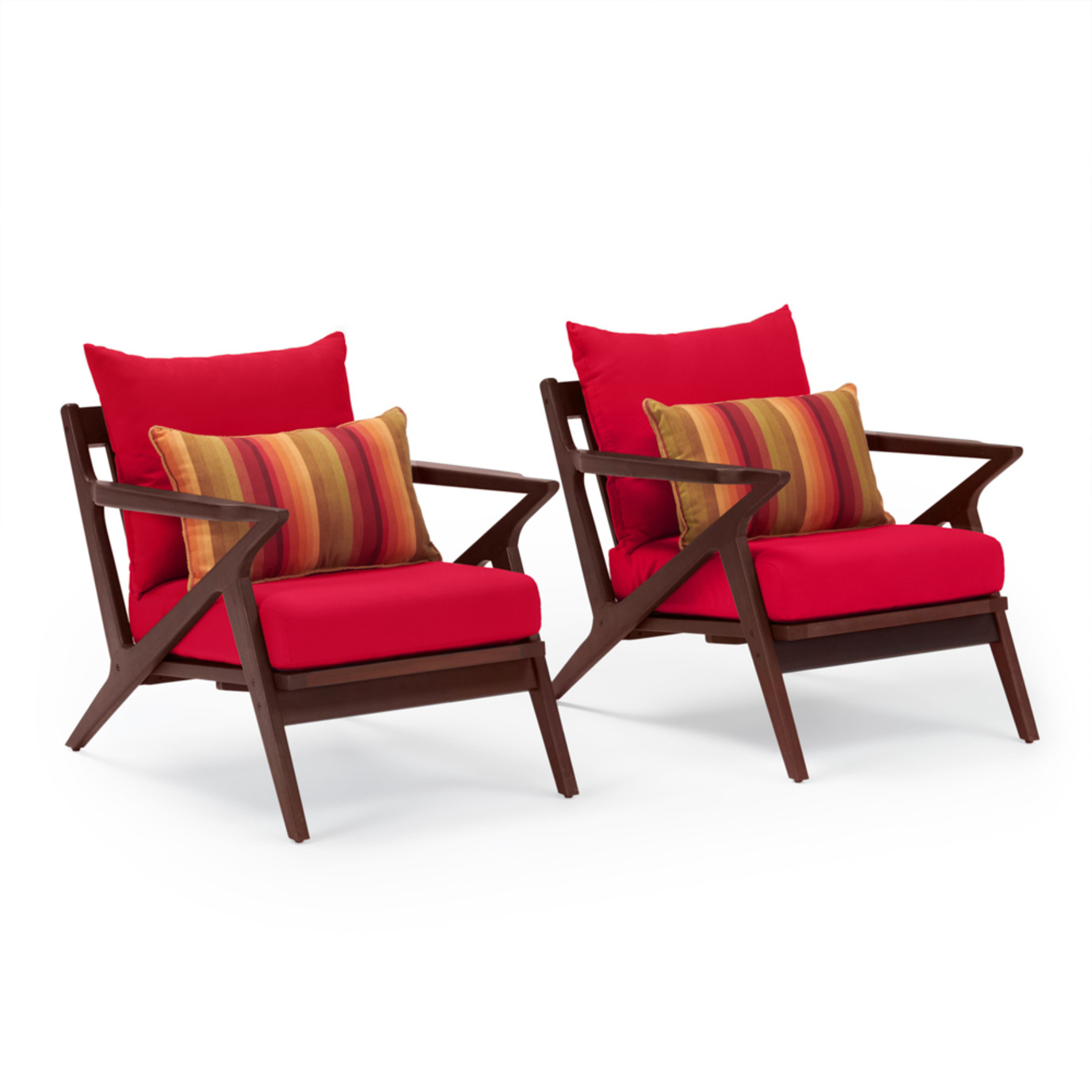 Vaughn Club Chairs - Sunset Red