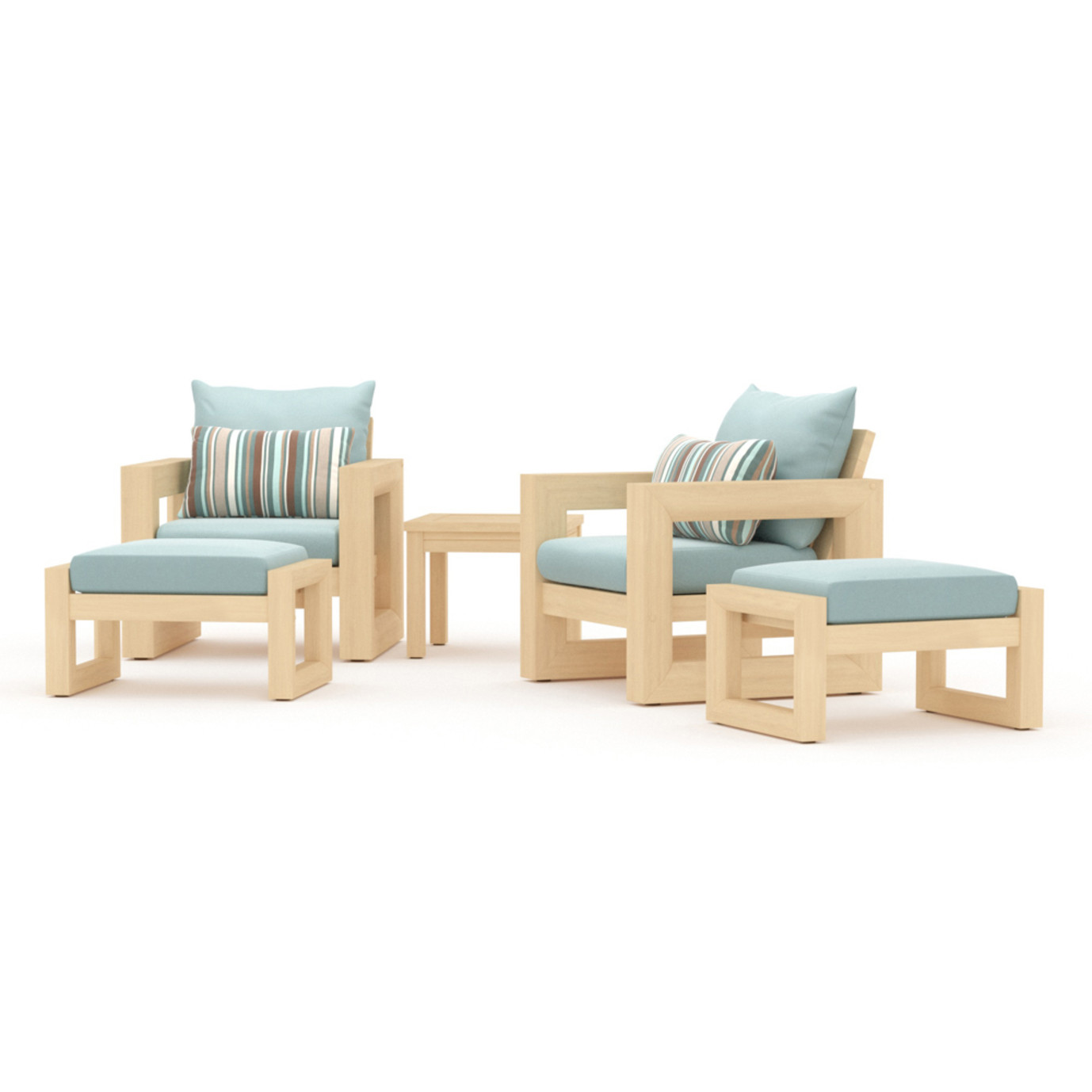 Benson 5 Piece Club Chair & Ottoman Set - Bliss Blue