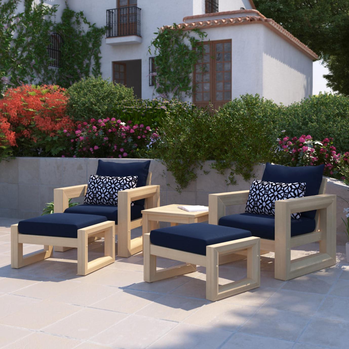 Benson 5 Piece Club Chair & Ottoman Set - Navy Blue
