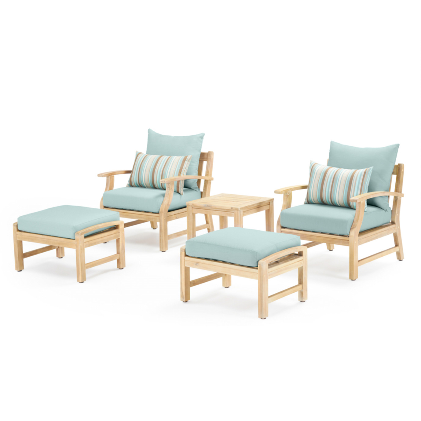 Kooper 5 Piece Club Chair & Ottoman Set - Bliss Blue