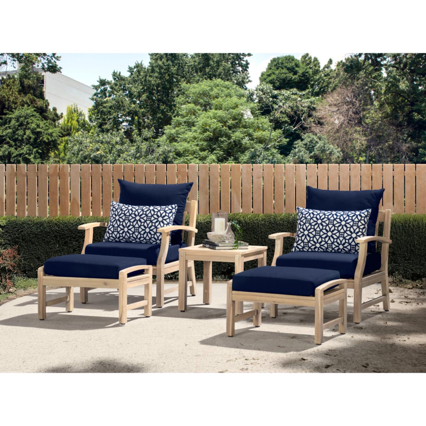 Kooper 5 Piece Club Chair & Ottoman Set - Navy Blue