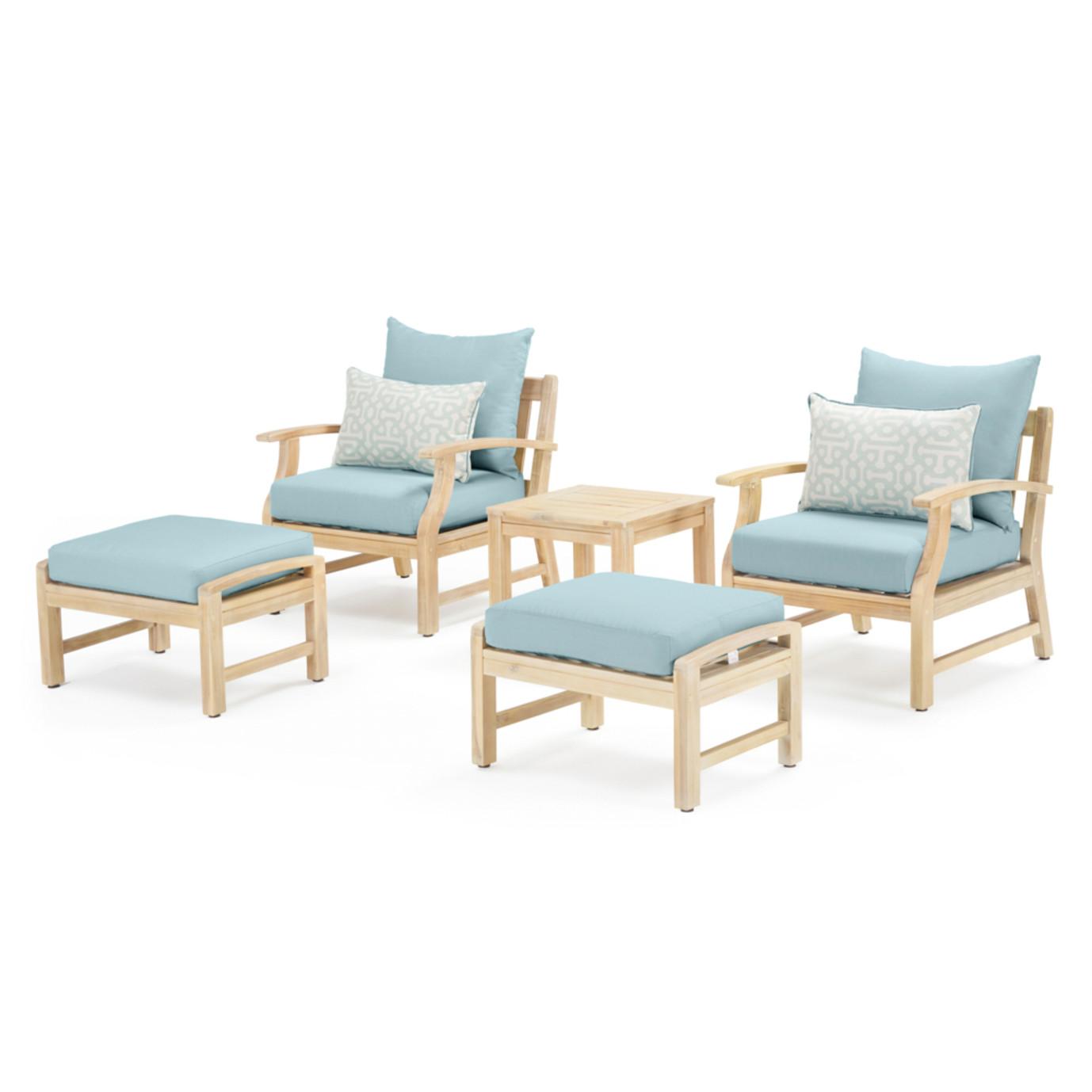 Kooper 5 Piece Club Chair & Ottoman Set - Spa Blue