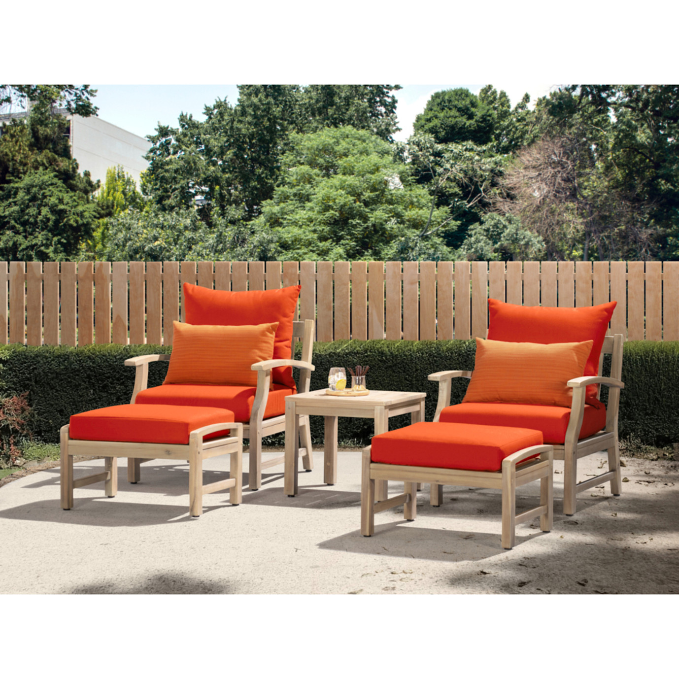 Kooper 5 Piece Club Chair & Ottoman Set - Tikka Orange