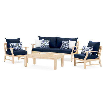 Magnificent Kooper 4Pc Outdoor Sofa Club Chair Set Navy Blue Pabps2019 Chair Design Images Pabps2019Com