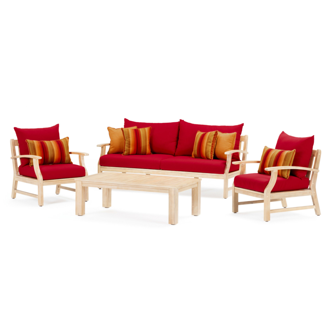 Kooper 4 Piece Outdoor Sofa & Club Chair Set - Sunset Red