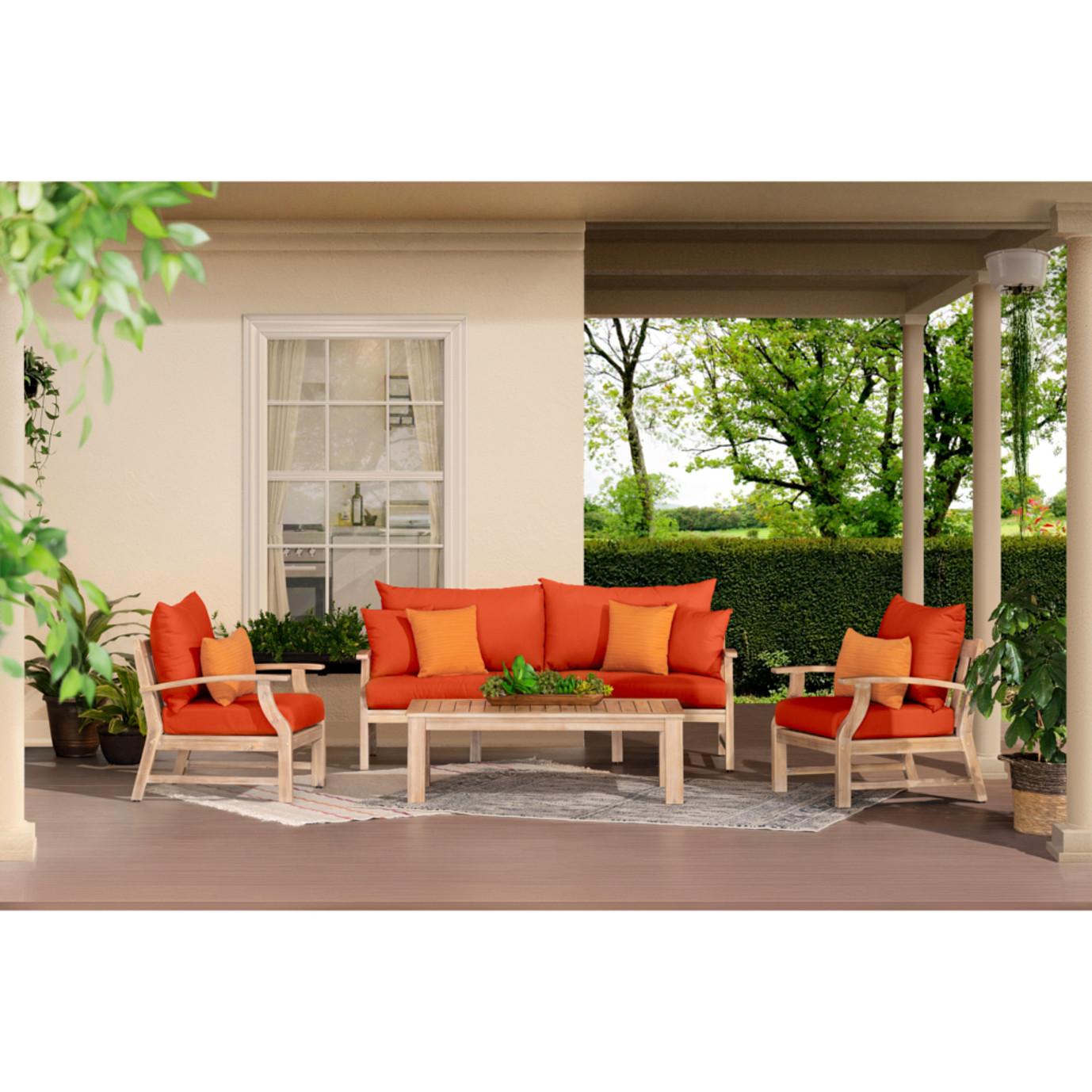 Kooper 4 Piece Outdoor Sofa & Club Chair Set - Tikka Orange