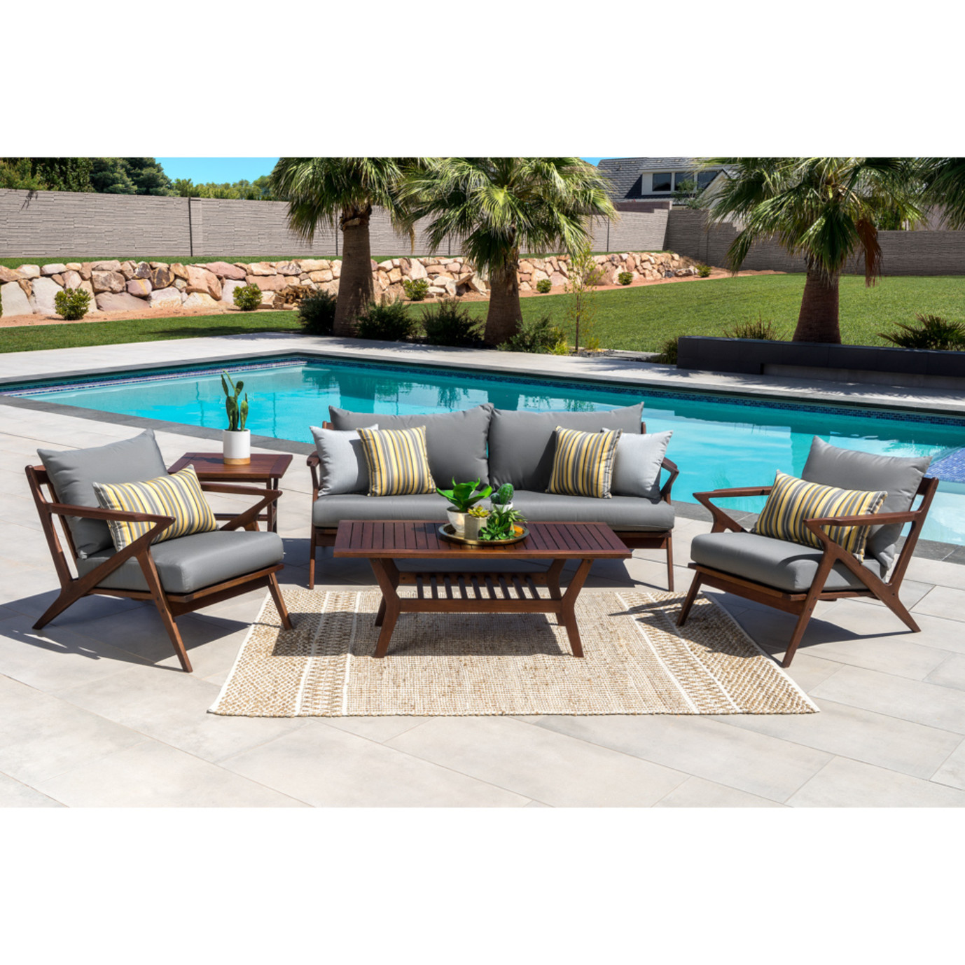 Vaughn 5pc Seating Set - Charcoal Gray