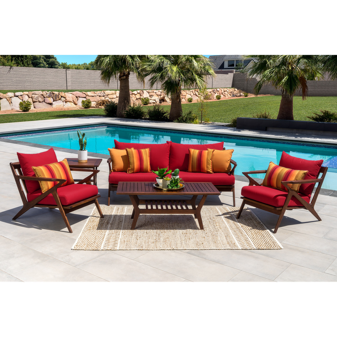 Vaughn 5pc Seating Set - Sunset Red