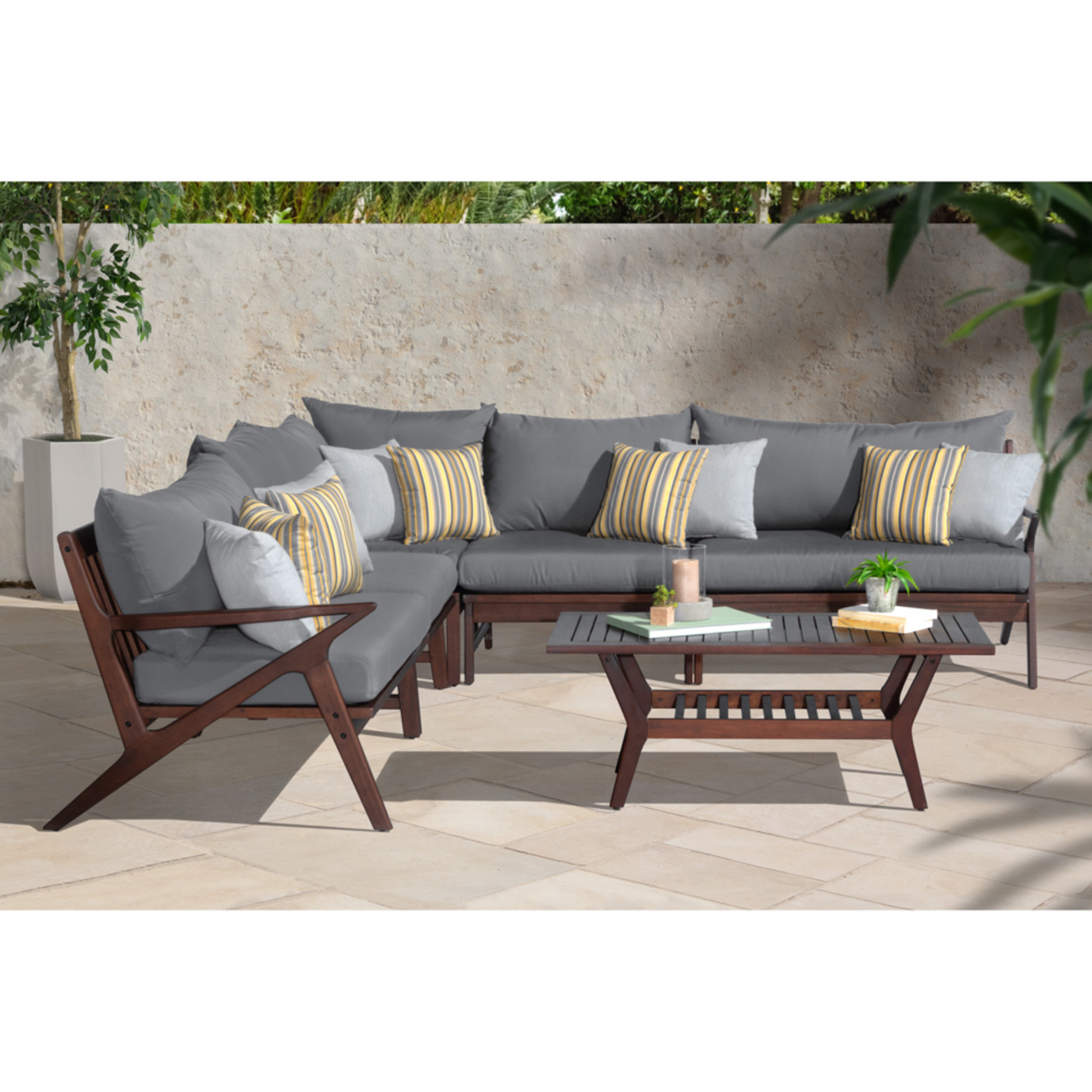 Vaughn 6 Piece Sectional - Charcoal Gray