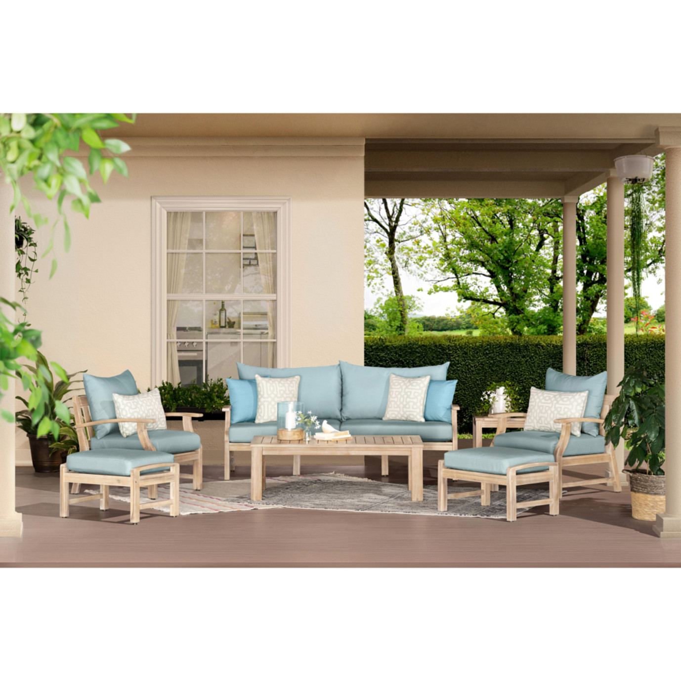 Kooper™ 7 Piece Outdoor Sofa & Club Chair Set - Spa Blue