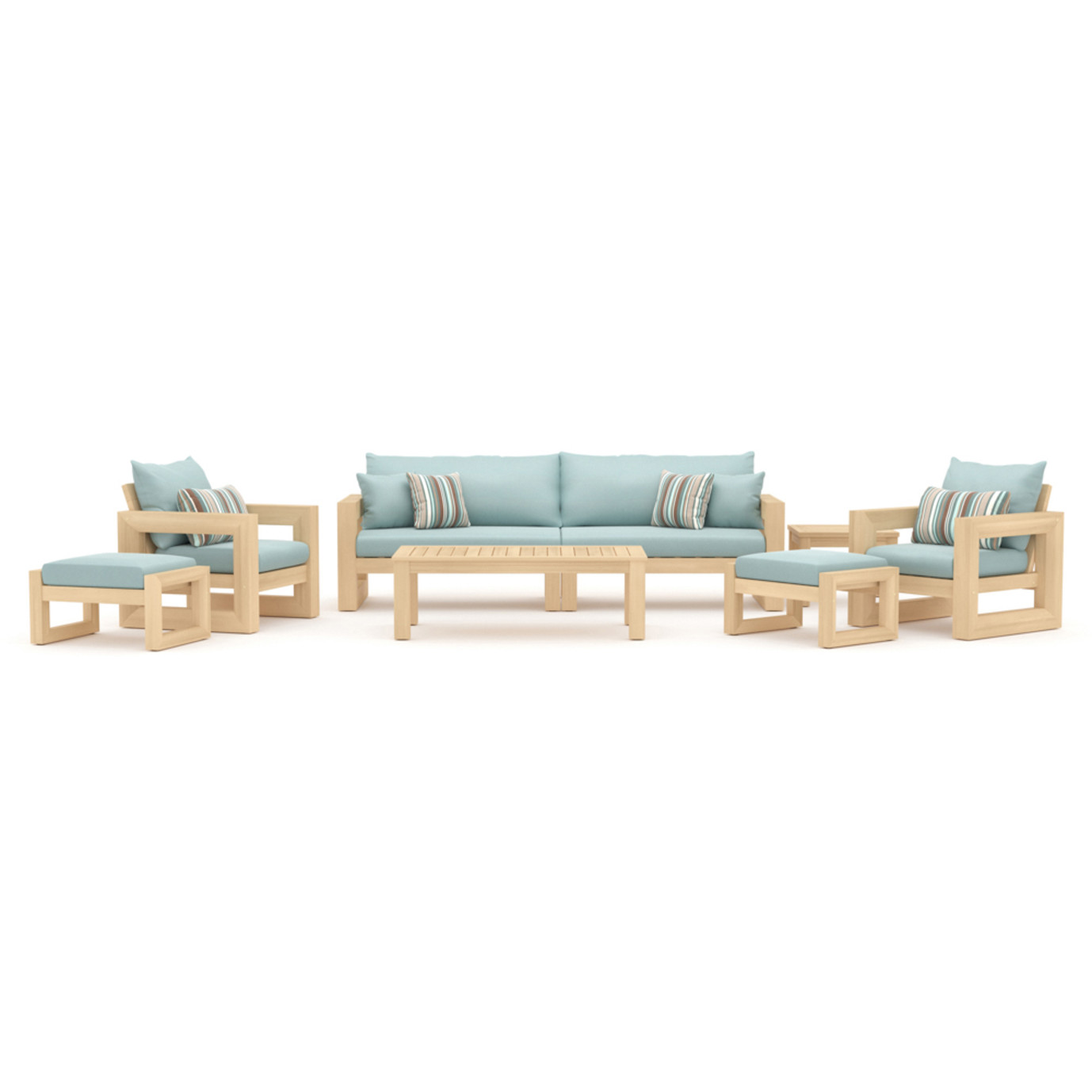 Benson 8pc Sofa & Club Chair Set - Bliss Blue