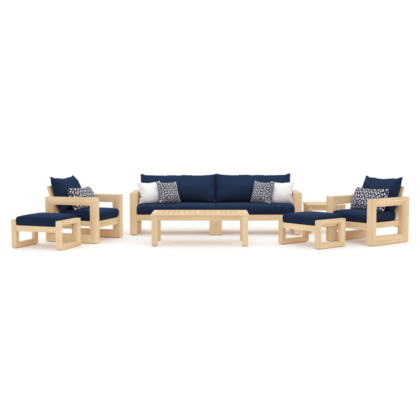 Benson 8pc Sofa & Club Chair Set - Navy Blue