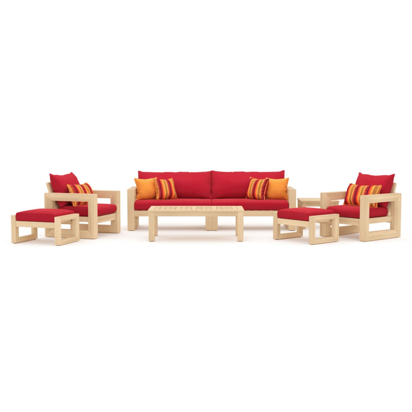 Benson 8pc Sofa & Club Chair Set - Sunset Red