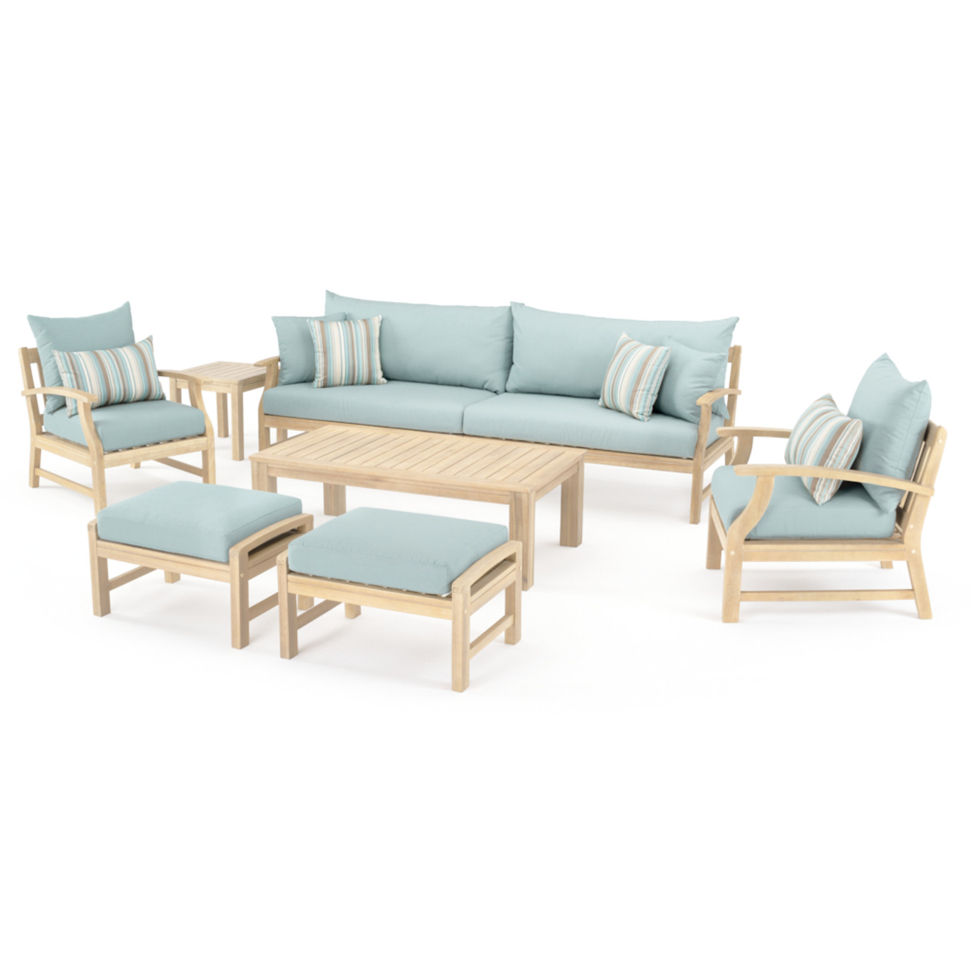 Kooper 8pc Sofa & Club Chair Set - Bliss Blue