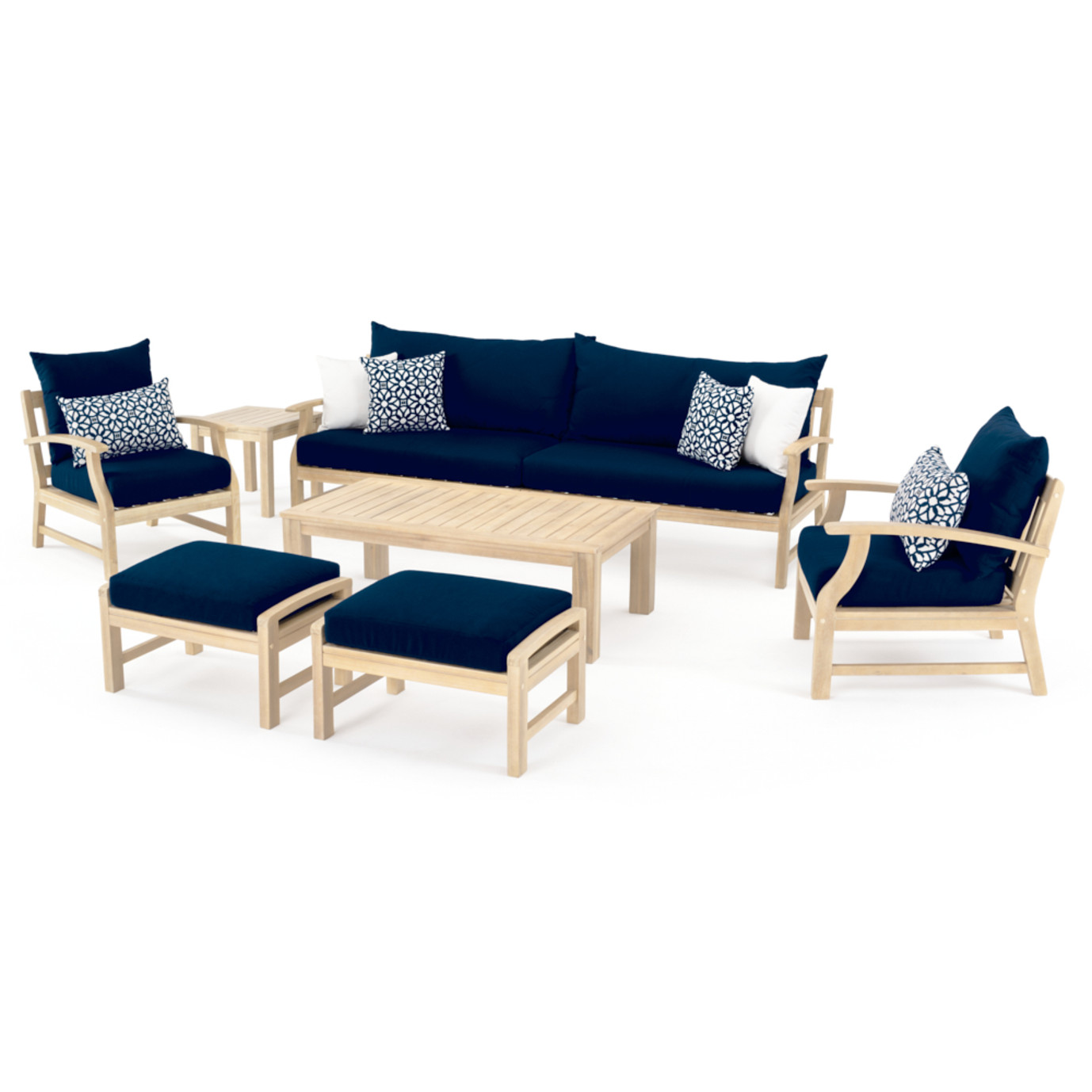 Kooper 8 Piece Sofa & Club Chair Set - Navy Blue