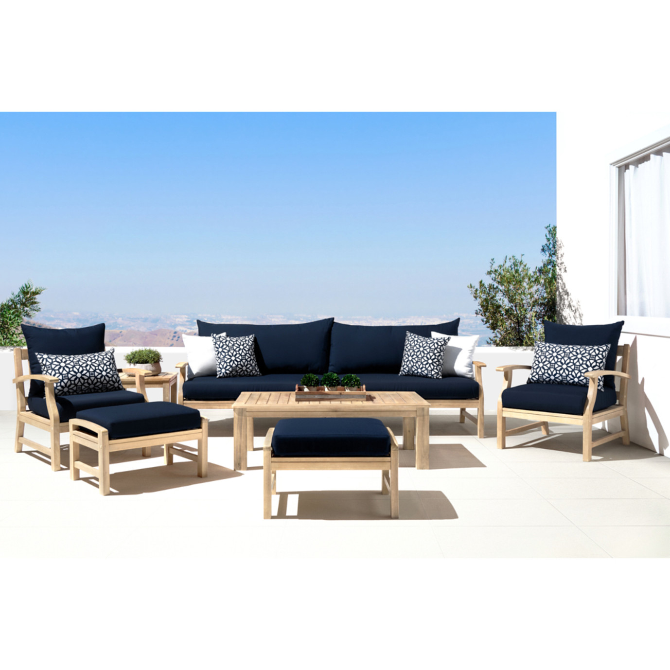 Kooper 8pc Sofa & Club Chair Set - Navy Blue