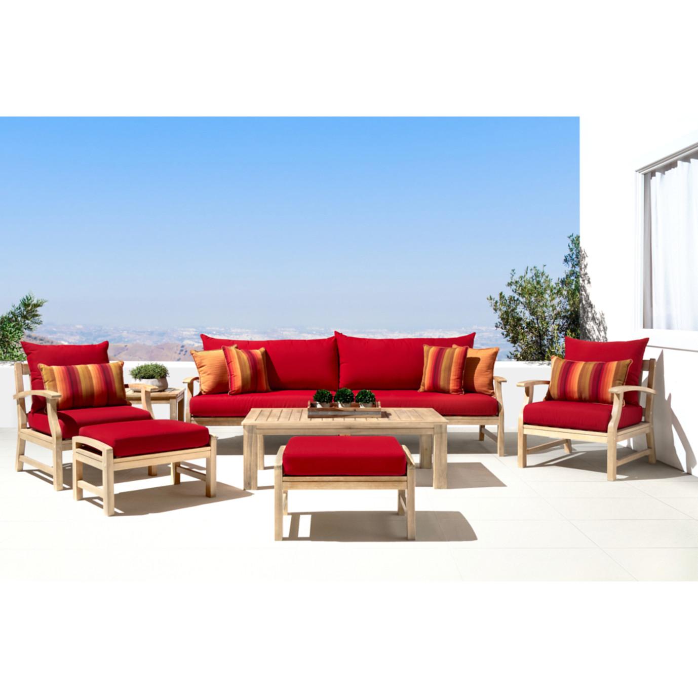 Kooper 8 Piece Sofa & Club Chair Set - Sunset Red