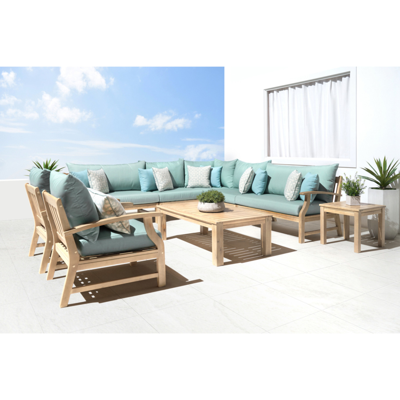 Kooper 9pc Seating Set - Spa Blue