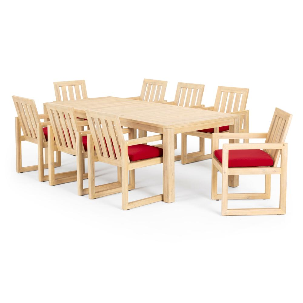 Benson 9 Piece Dining Set - Sunset Red