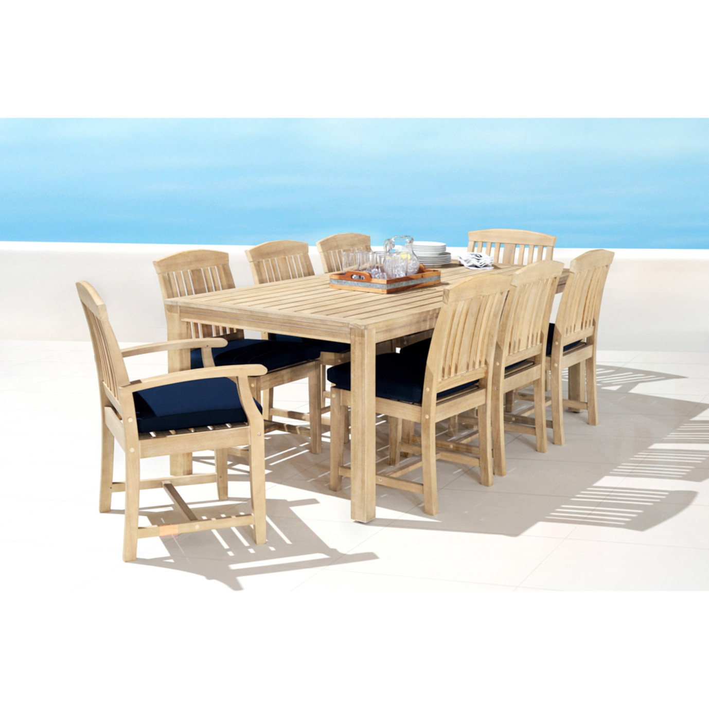 Kooper 9pc Outdoor Dining Set - Navy Blue