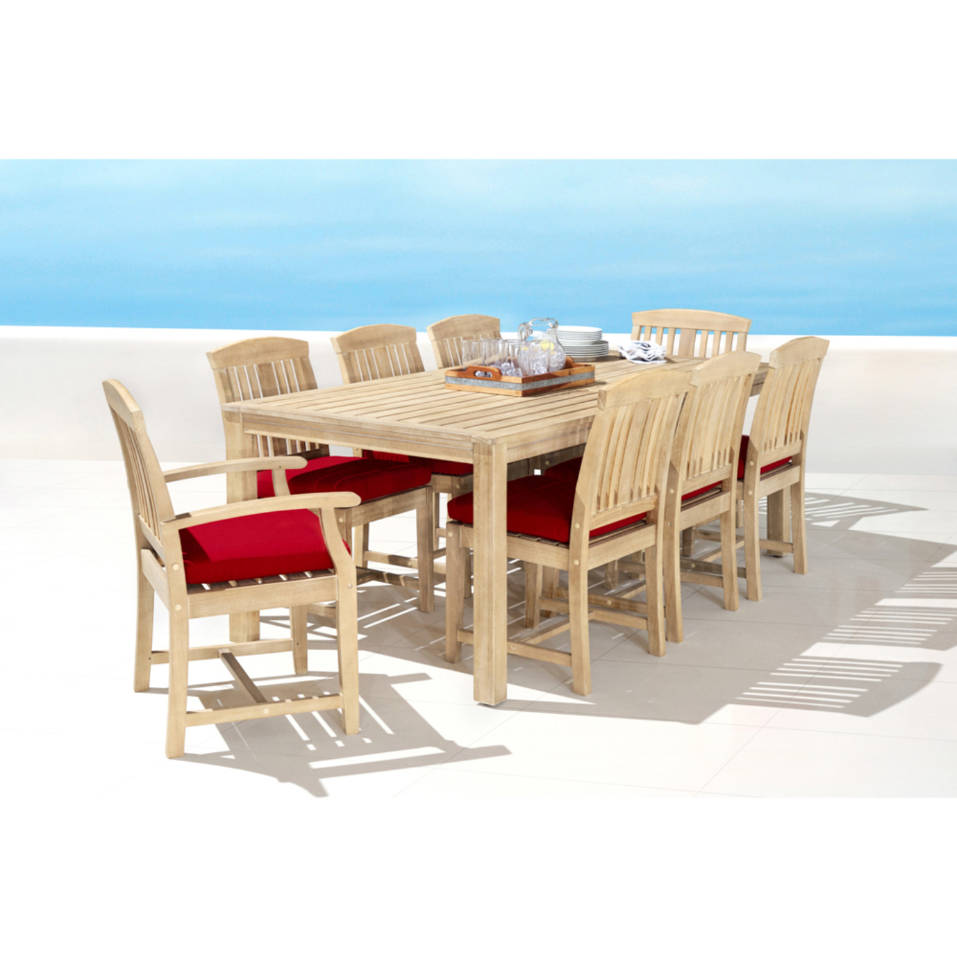 Kooper 9pc Outdoor Dining Set - Sunset Red