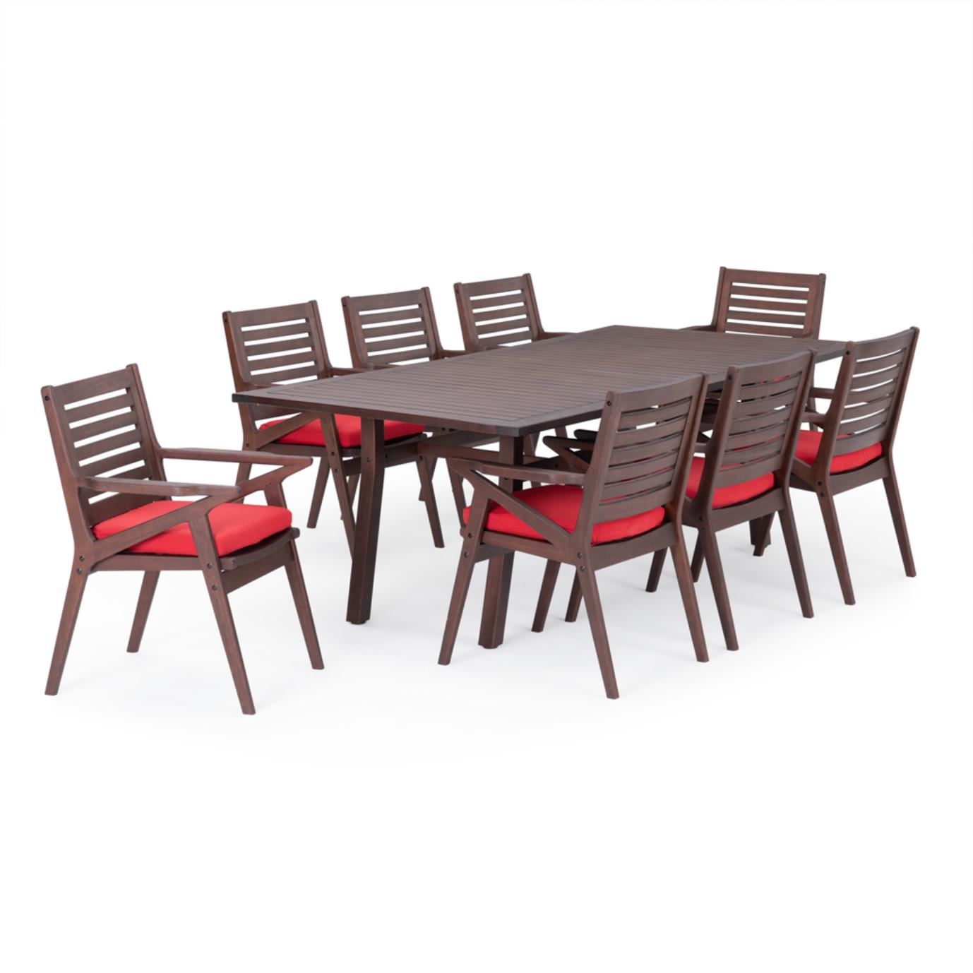 Vaughn 9 Piece Dining Set - Sunset Red