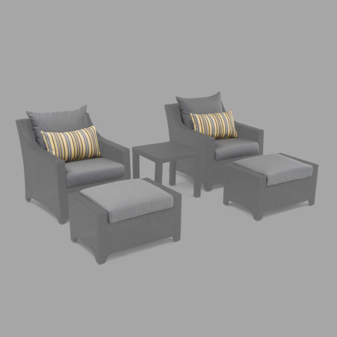 Modular Outdoor 5pc Club Cushion Cover Set - Charcoal Grey