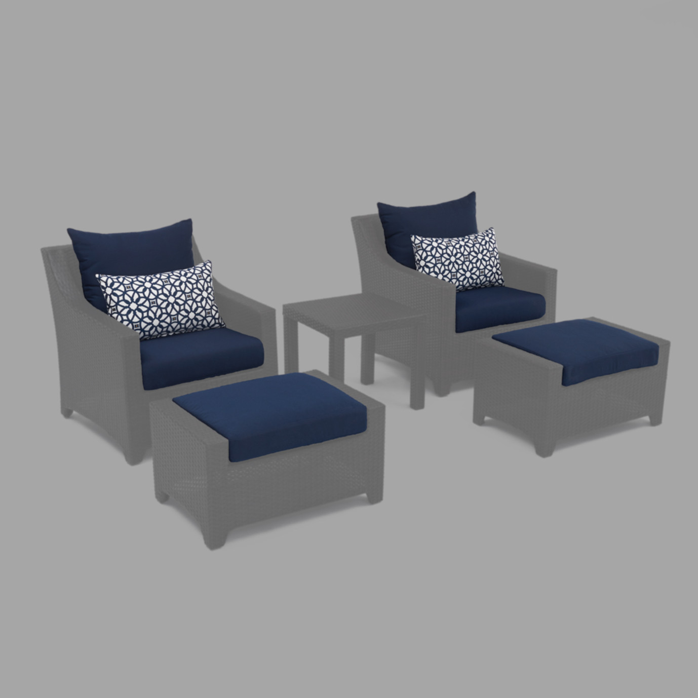 Modular Outdoor 5 Piece Club Cushion Cover Set - Navy Blue