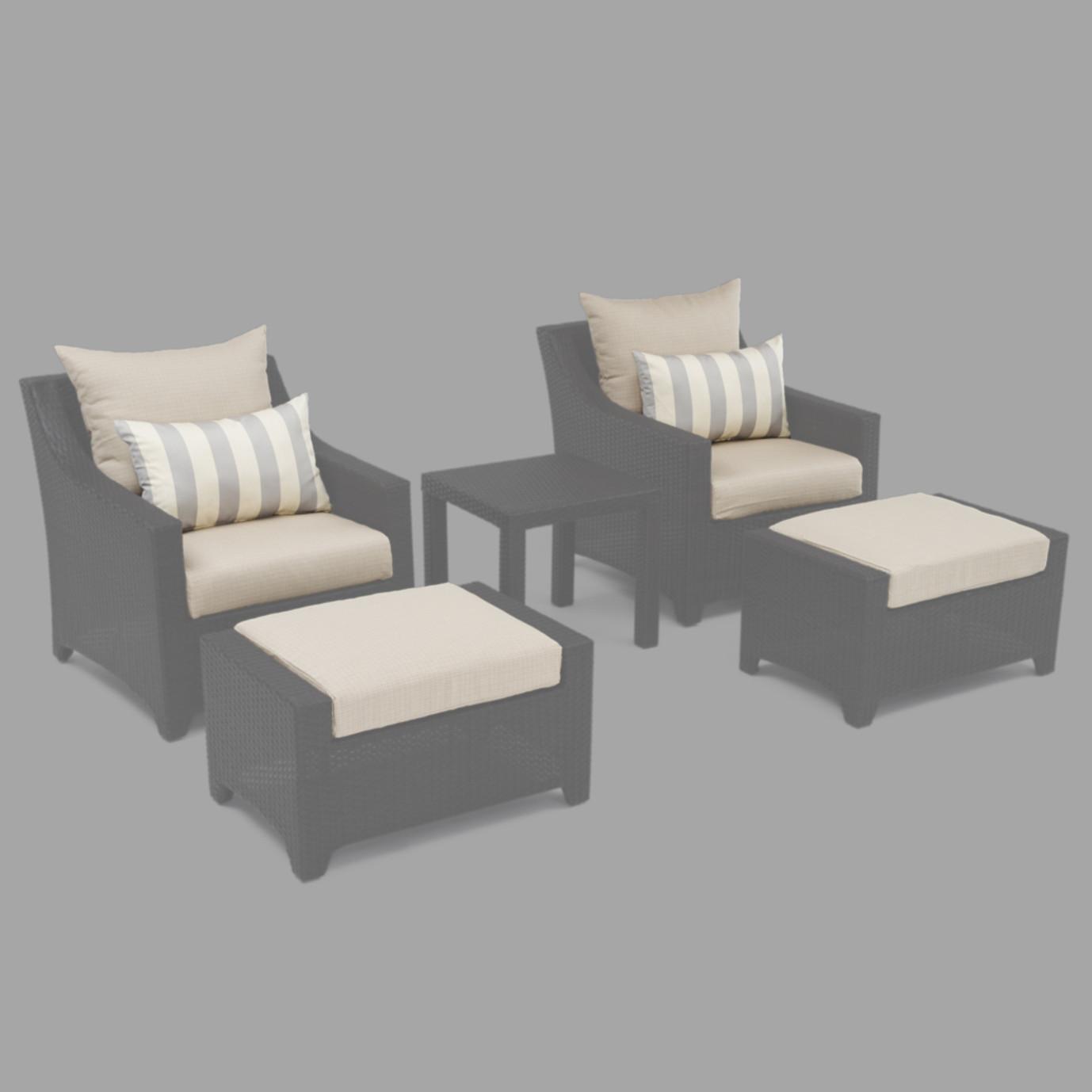 Modular Outdoor 5 Piece Club Cushion Cover Set - Slate Grey