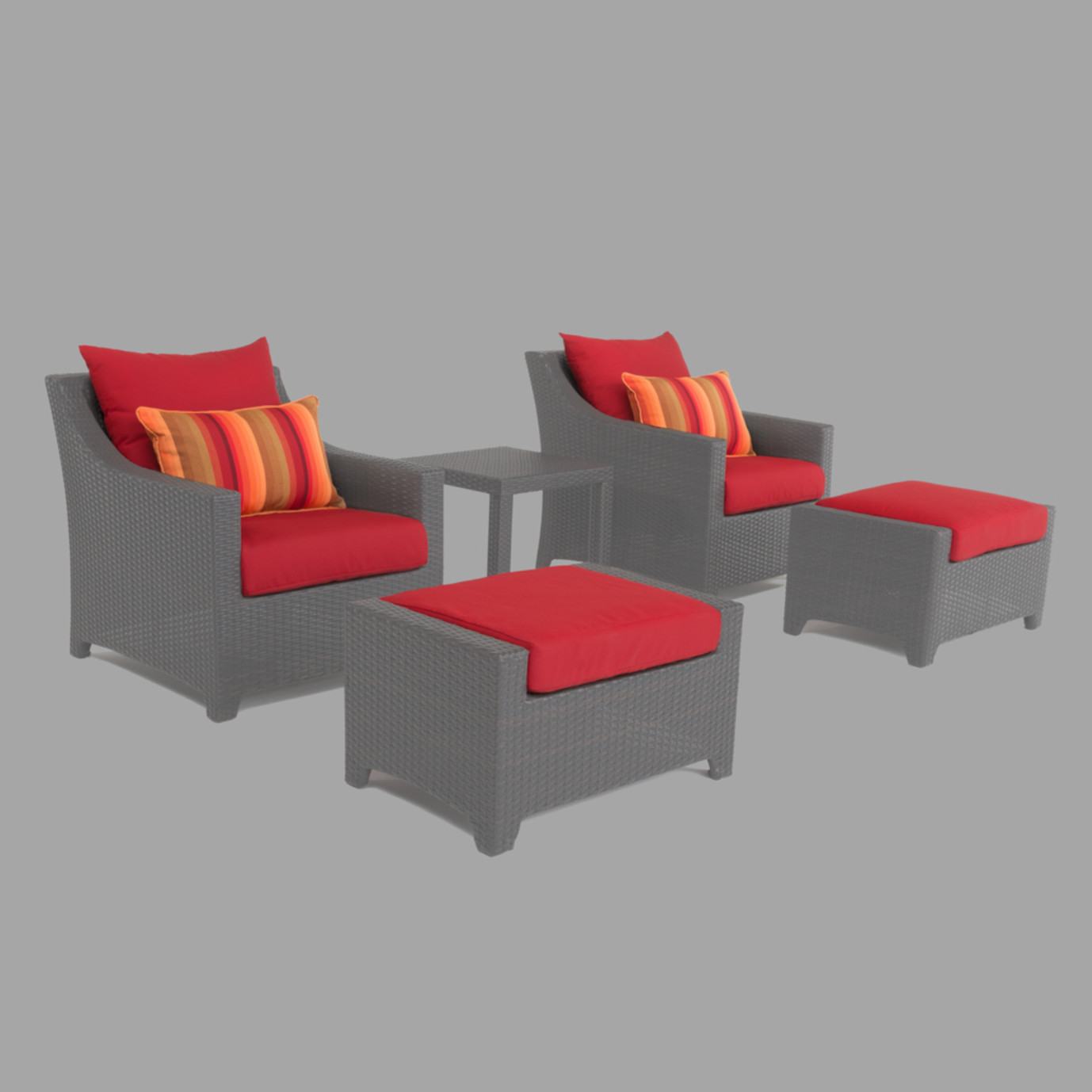 Modular Outdoor 5 Piece Club Cushion Cover Set - Sunset Red