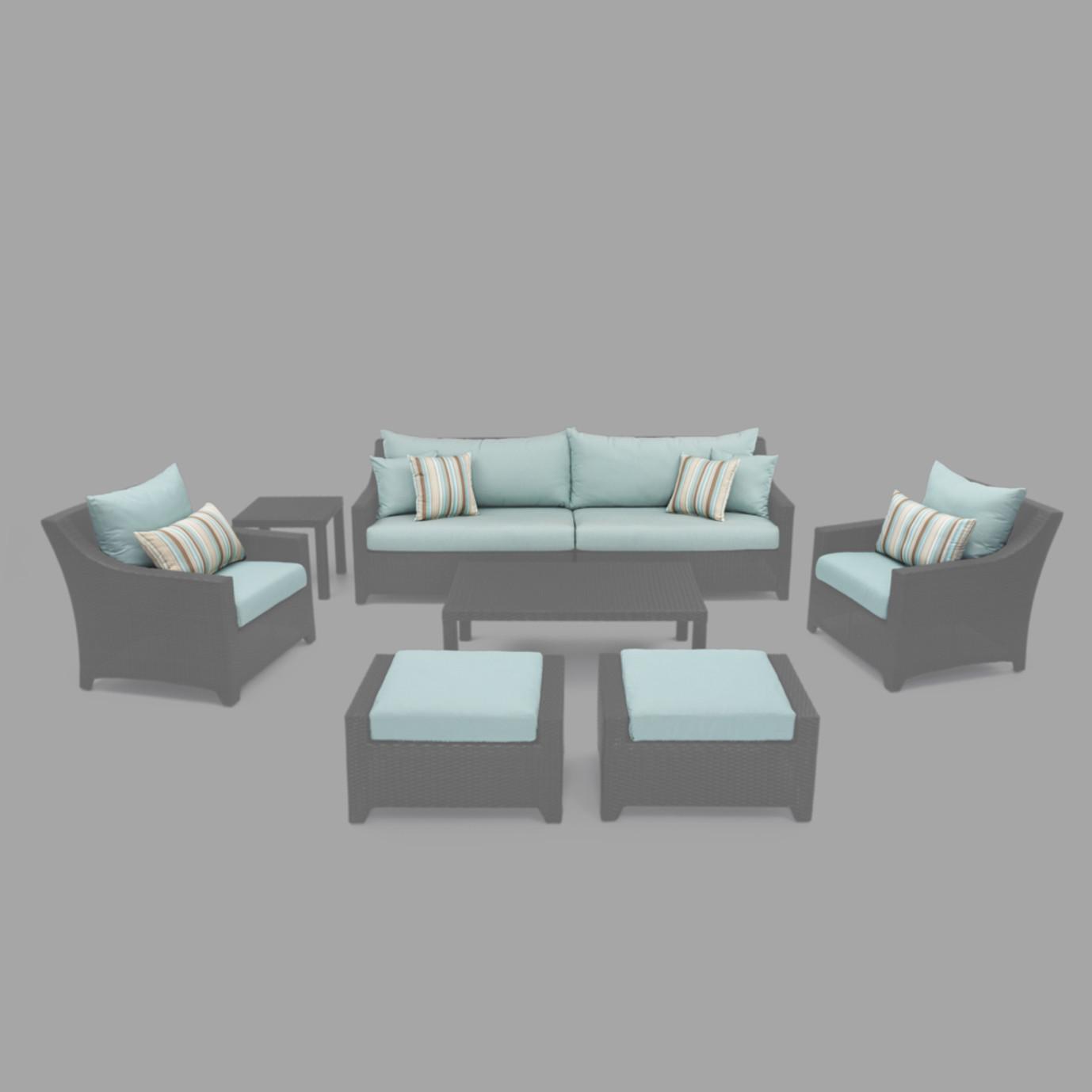 Modular Outdoor 8 Piece Club Cushion Cover Set - Bliss Blue