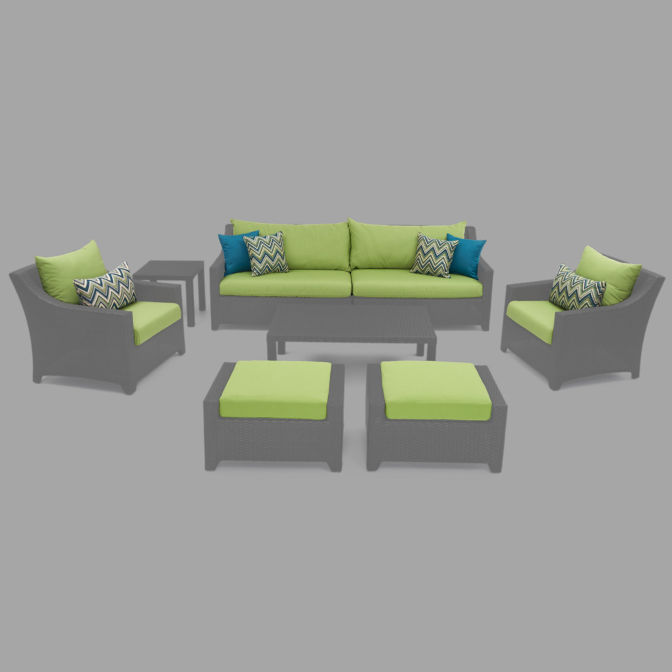 Modular Outdoor 8pc Club Cushion Cover Set - Gingko Green